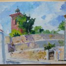 Painting oil On Board Not Finished View by Country Spanish Opera Painter MD1
