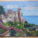 Old Painting oil On Board Marine Sea landscape Spain Signed Vintage MD1