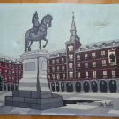 Old Painting oil On Linen View Madrid Plaza Mayor Signed Of Leon MD5