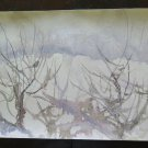 19 11/16x14 3/16in Cold landscape Winter Painting Vintage Technical Frost P14