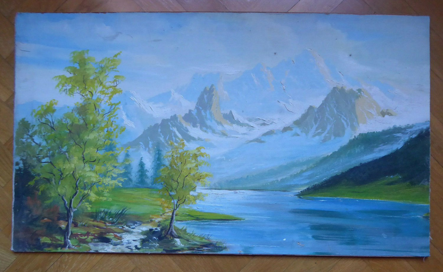 Painting Anonimo Spanish Of '900 landscape Di Montagna Patagonia Vintage MD6