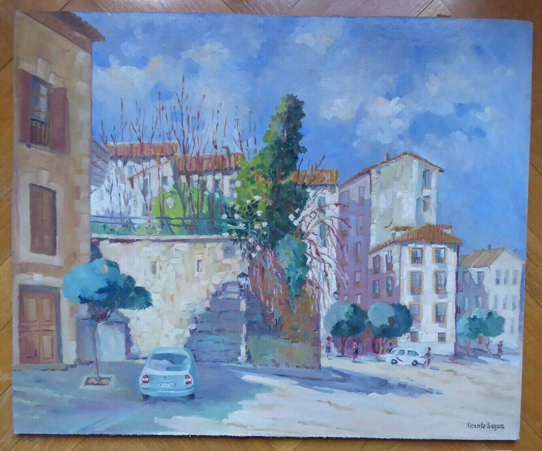 Painting oil Vintage Signed Segura View Las Esquinas Calla Segovia MD6