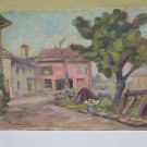 Painting Modern 900 oil On Board landscape Countryside With Farmhouses Antique