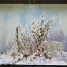 Painting Vintage landscape Winter Onirico Signed Basket 19 11/16x14 3/16in P14