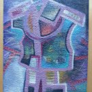 Painting Abstract Vintage Years 60 Spain Madrid Signed Painting oil Board MD4
