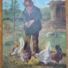 Painting Antique oil On Linen Signed Scene of Life Peasant Woman Spain Hens MD5