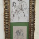 Two Antique drawings with Frame Portrait Family Sketch Signed BM38