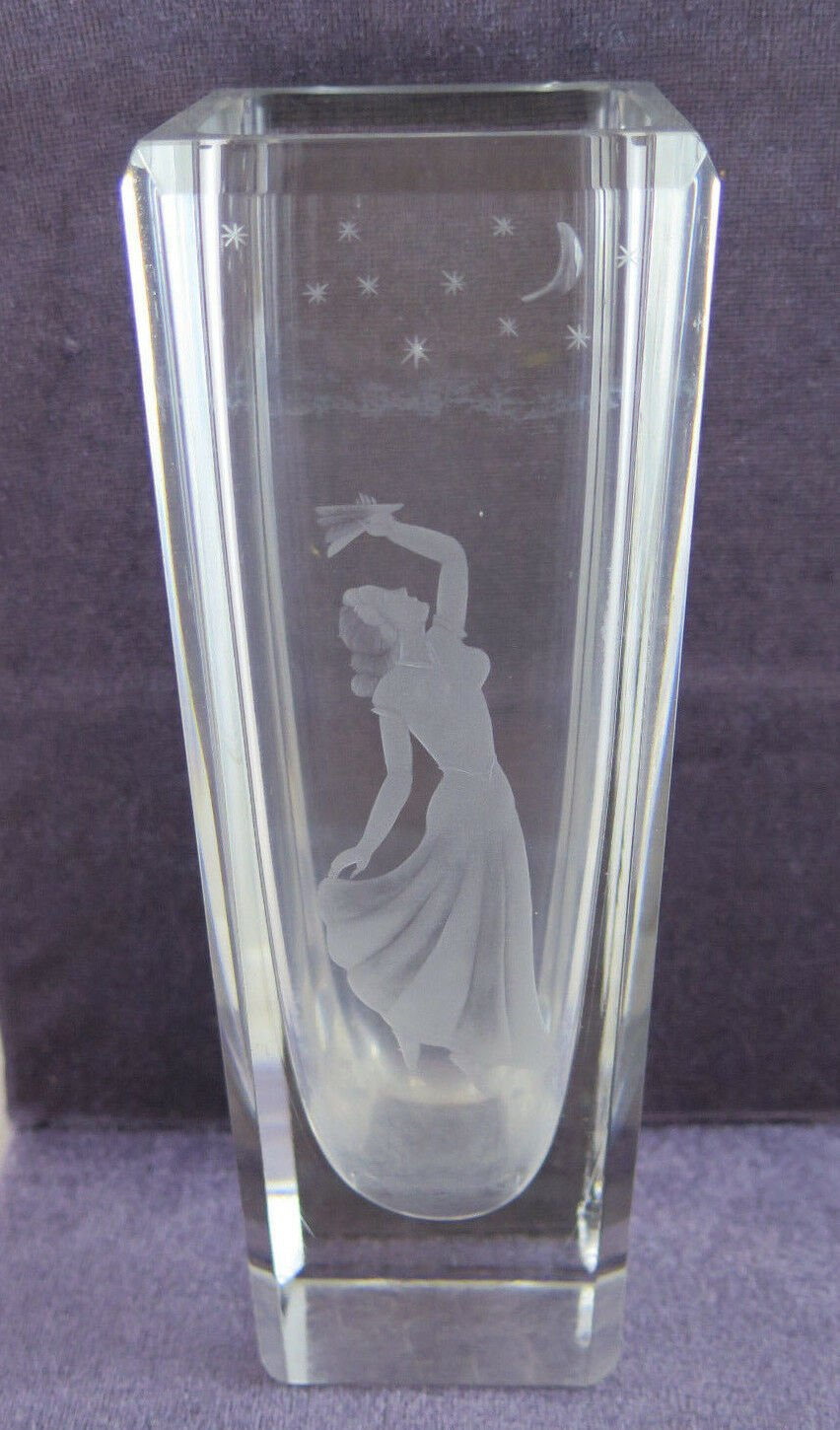 Vase Glass To Lead Denmark Deco' Engraved With Shapes Female Stars & R54