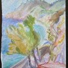 Landscape Sea Painting To Watercolour On Basket Opera Of Painter G.Pancaldi P14
