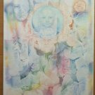 Painting Vintage Modern Years 80 Signed Abstract Onirico With Technical Frost Ps