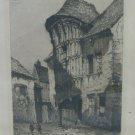 Engraving Antique Etching View of Chartres France Victor Maunier 1931 BM41