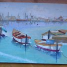 Old Painting oil On Board Vintage Marina Boats Sea Signed Spain '900 MD6