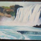 Painting Of 900 Twentieth Century landscape With Waterfall To oil On Board p16