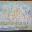 Painting Vintage landscape Dolomites With Technical Of Frost Original Signed p15