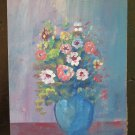 Painting with Flowers Floral Style Impressionist oil On Board 1960 About V