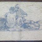 Drawing Antique Opera Of Painter Gaetano Pancaldi Group Men Seated P28.4