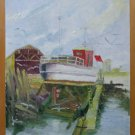 Old Painting oil On Board Signed Marina Boat Spain '900 MD2