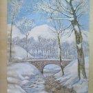 Painting Vintage oil And Watercolour landscape Winter Signed Pancaldi P23