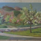 Painting Antique Painting oil On Board Signed landscape Spring p7