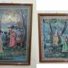 Two Paintings Indian India Painted On Fabric With Shapes Female Asia PS1