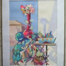 Painting Modern 1960's 60 Painting Watercolour Inside With Blossom p12
