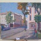 Antique Painting oil On Linen View City Opera Painter Pancaldi Modena P27