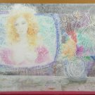 Painting Vintage To Watercolour Portrait Feminine Woman IN TV Signed Ps Little