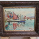 Antique Painting oil Linen landscape Marine Hardy Douarnenez France R104