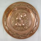 Large plate Copper Antique Handcrafted A Embossed With Grape Fruit Table R90