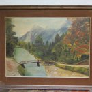 Landscape House Dolomites Painting Modern 1973 Signed Guidi oil Linen G2