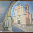 Painting Antique To oil On Linen View Scorcio Country Emilia Romagna P22