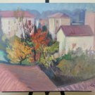 25 3/16x18 1/2in Painting Vintage Signed View Country To oil Pancaldi 1963 P32