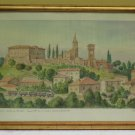 Painting Antique landscape View Of Bazzano IN Province Modena Signed Frame