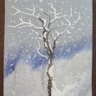 Old Painting To Watercolour On Basket D'Author landscape Snowy Trees A P31
