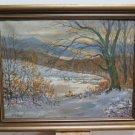 Painting oil On Linen landscape Winter Of Denmark Painting Scandi R94