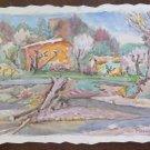 Painting Vintage Signed Watercolour On Basket landscape Countryside Modena P31