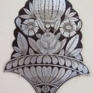 Painting Floral On Iron Handcrafted A Engraving Frieze Vintage Made Hand CH13 7