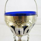 Elegant Sugar Bowl Antique Neo-Classical Eclectic IN Metal And Glass Blue R62