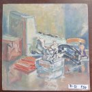 Painting Antique oil On Board Inside With Items On Table Signed 1962 P30