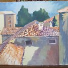 28 5/16x16 1/2in Painting oil Vintage View City Country Province of Modena P21