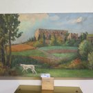 Landscape Countryside With Dog For Hunting Painting oil On Linen Certificate P27