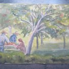 Antique Watercolour Painting On Basket landscape With Women To Work Original p1