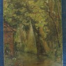 10 5/8x14 3/16in Painting To oil Signed Vintage View landscape Countryside P3