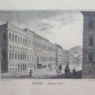 Antique engraving View Of Palace Royal Di Genova Grundman Aubert with Frame G31