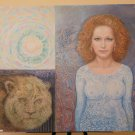 Portrait Symbolist Of Woman and Lion Painting On Board Signed Painting P29