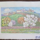 Painting Vintage Painting Watercolour On Basket landscape Countryside Signed P31