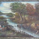Landscape Bucolic Old Painting Vintage Painting oil Signed Messina Vb