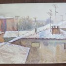Painting Modern Years 60/70 View landscape City Seen from The Window P31