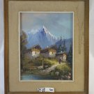 Painting Antique landscape Di Montagna Alpine Alps Painting To oil On Board SO1