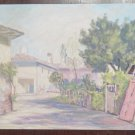 Painting Vintage landscape Countryside Small Borgo With Case 1960's P31